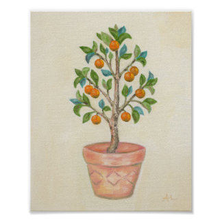 Impressão da arte da árvore de tangerina