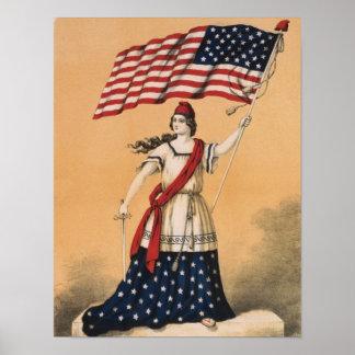 Impressão da arte da bandeira americana da senhora