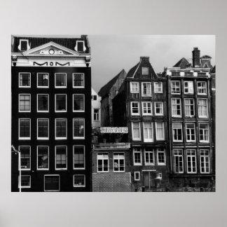 Impressão da arte da cafetaria B/W de Amsterdão