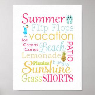 Impressão da arte da parede da tipografia do verão