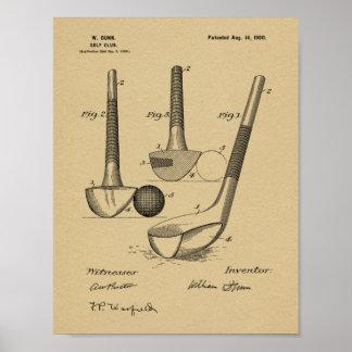 Impressão da arte da patente de design do clube de
