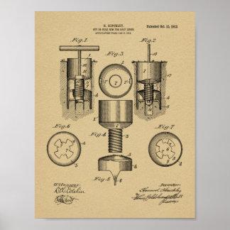Impressão da arte da patente de design do furo do