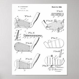 Impressão da arte da patente de design dos clubes