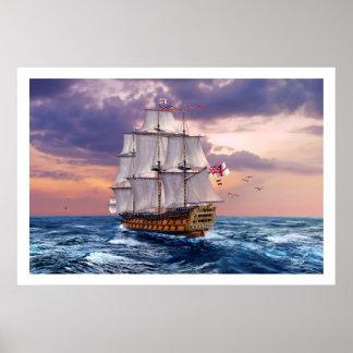 Impressão da arte da pintura da capitânia da HMS