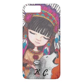 Impressão da arte da princesa e do lobo do nativo capa iPhone 7 plus
