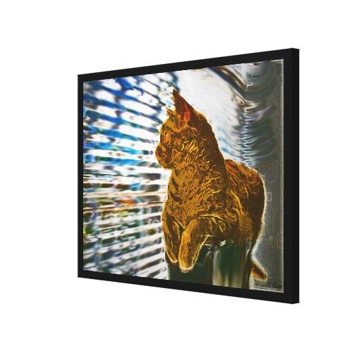Impressão da arte das canvas do gato alaranjado na impressão de canvas esticada