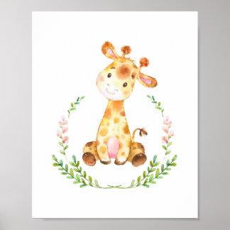 Impressão da arte do berçário do girafa da