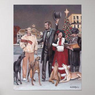 Impressão da arte do cão do galgo do Natal II de