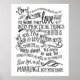 Impressão da arte do poster da oração do casamento