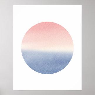 impressão da arte do poster do seascape do por do