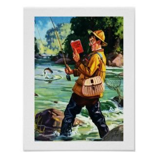 Impressão da arte do vintage da cena da pesca do