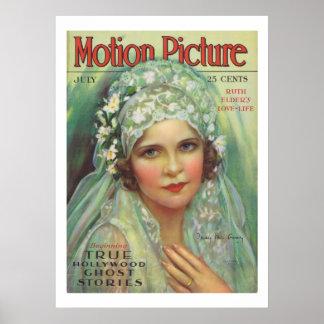 Impressão da capa de revista do filme do vintage d