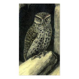 Impressão da coruja do vintage cartão de visita