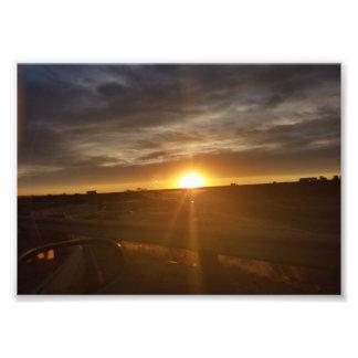 Impressão da estrada do por do sol impressão de foto