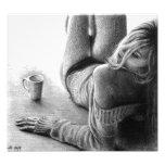 Impressão da foto da grafite da mulher e do café