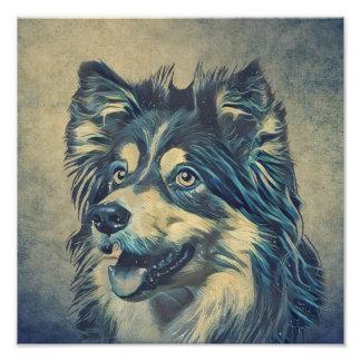 Impressão da foto da pintura do Sheepdog de