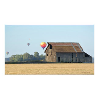 Impressão da foto do celeiro e dos balões
