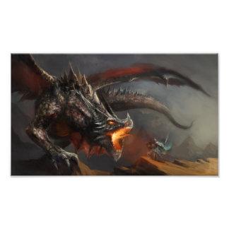 Impressão da foto do dragão e do cavaleiro