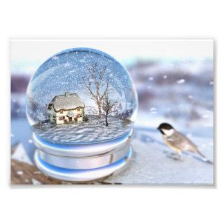 Impressão da foto do globo do floco de neve
