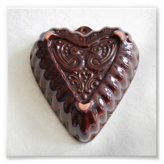 Impressão da foto do molde de Kugelhopf do coração