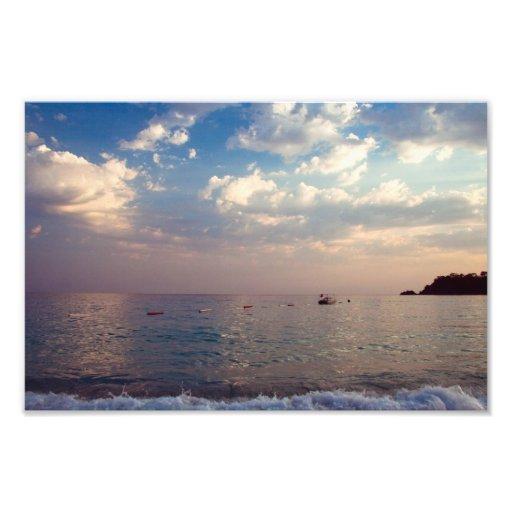 Impressão da foto do por do sol da praia