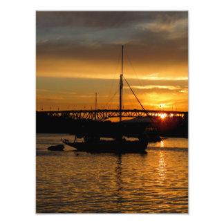 Impressão da foto do veleiro do por do sol