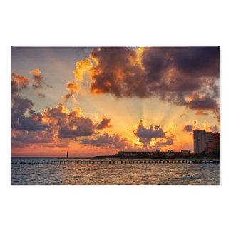 Impressão da foto - nascer do sol em Cancun,
