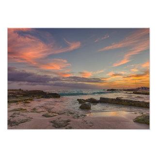Impressão da foto - nascer do sol sobre Cancun,