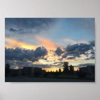Impressão da fotografia da cidade do por do sol