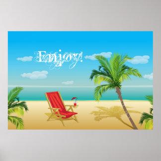 Impressão da fuga do paraíso da praia