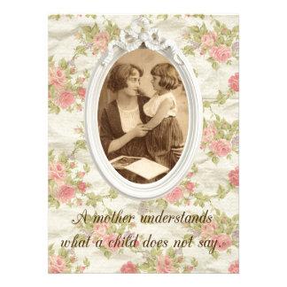Impressão da mãe do vintage convite personalizados