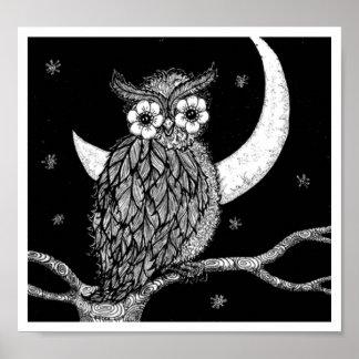 Impressão da meia-noite da coruja