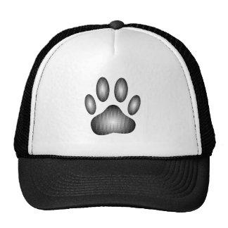 Impressão da pata do cão em inclinações preto e boné