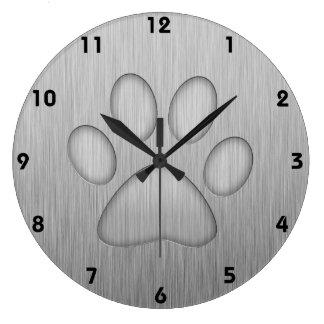 Impressão da pata; Metal-olhar Relógios De Paredes