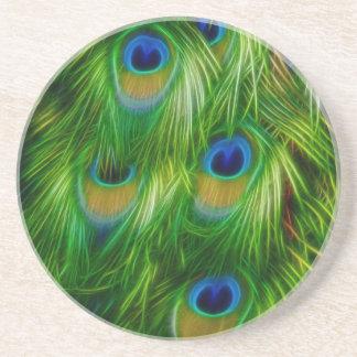 Impressão da pena do pavão porta copos de arenito