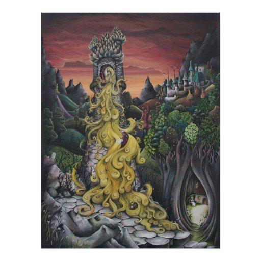 Impressão da pintura do conto de fadas de Rapunzel Impressão Fotográficas