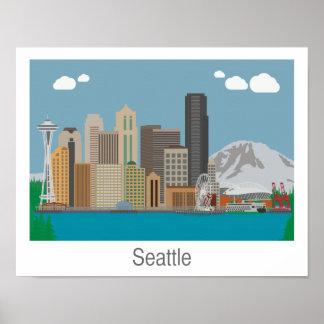 Impressão da skyline de Seattle, Washington -