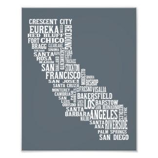 Impressão da tipografia dos nomes da cidade da foto