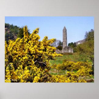 Impressão da torre de Glendalough