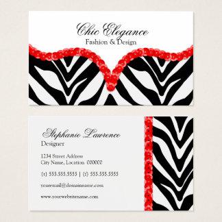 Impressão da zebra & cartões de visitas elegantes