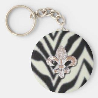 Impressão da zebra de Flor da flor de lis Chaveiro