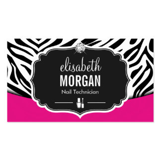 Impressão da zebra do rosa do preto do técnico do cartão de visita