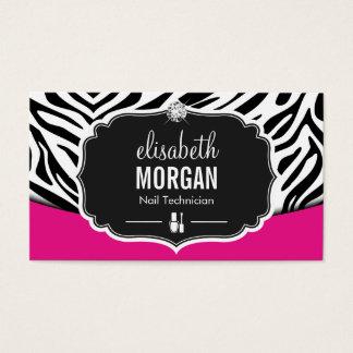 Impressão da zebra do rosa do preto do técnico do cartão de visitas