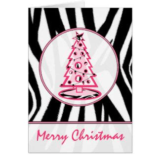 Impressão da zebra e cartão cor-de-rosa da árvore