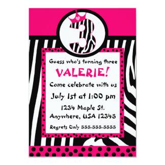 Impressão da zebra e convite cor-de-rosa do