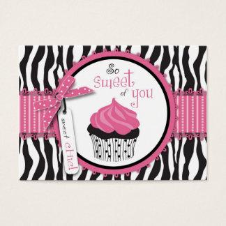 Impressão da zebra & obrigado do cupcake você cartão de visitas