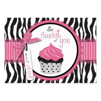 Impressão da zebra & obrigado do cupcake você Note Cartão De Visita