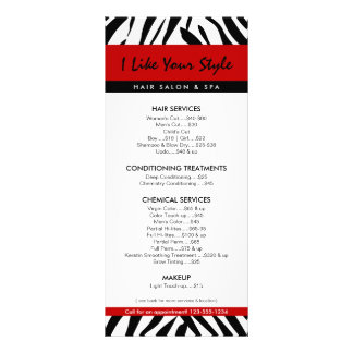 Impressão da zebra, tabela de preços do 10.16 x 22.86cm panfleto