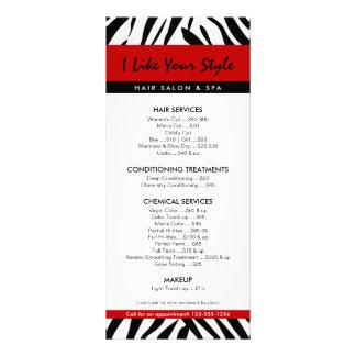 Impressão da zebra, tabela de preços do cabeleirei 10.16 x 22.86cm panfleto
