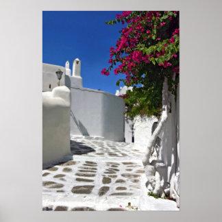 Impressão das belas artes do beco de Mykonos